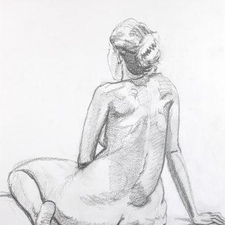 Seated female nude leaning on her arm | Damian Osborne